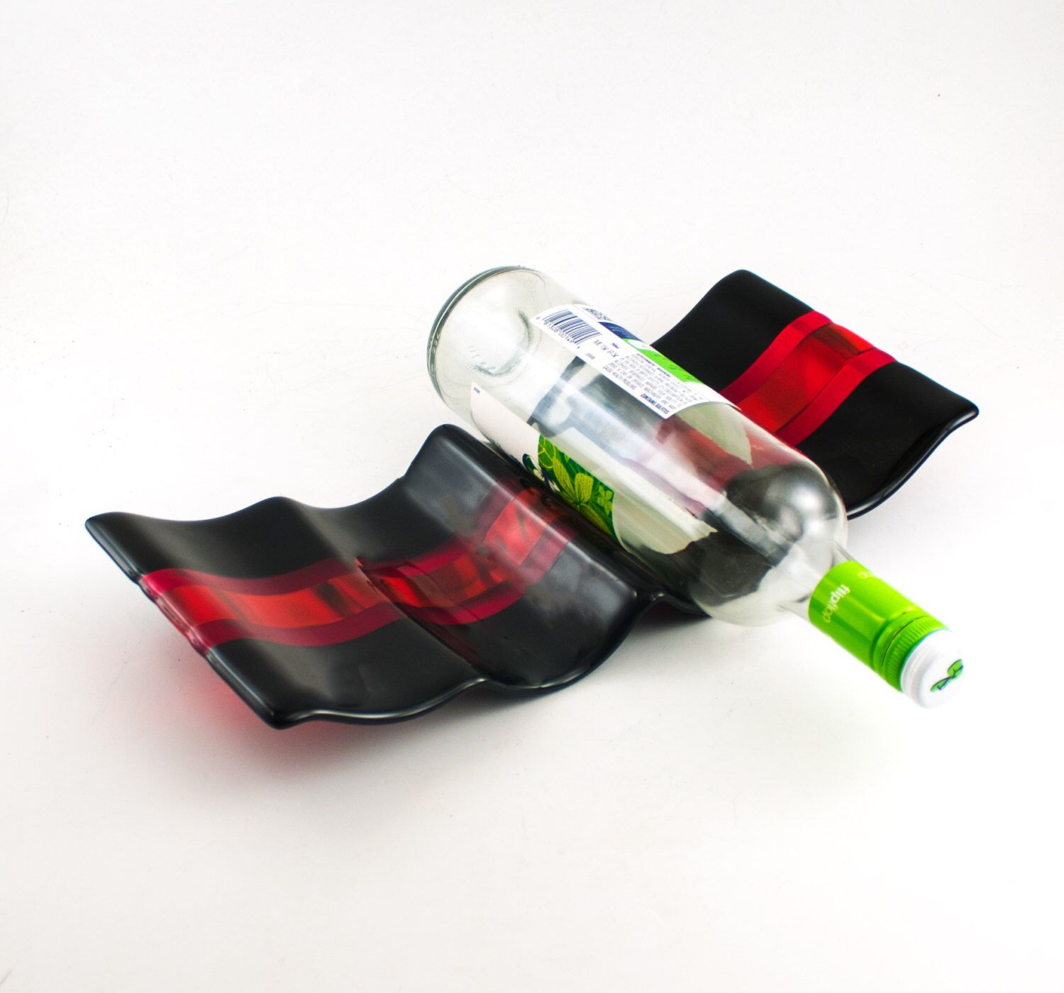 Black and Red Fused Glass Wine Rack, Modern Wine Storage, Unique Wine Rack, Table Top Display, Countertop Storage, Gifts for Wine Lovers by Nostalgianmore on Etsy https://www.etsy.com/listing/400079531/black-and-red-fused-glass-wine-rack