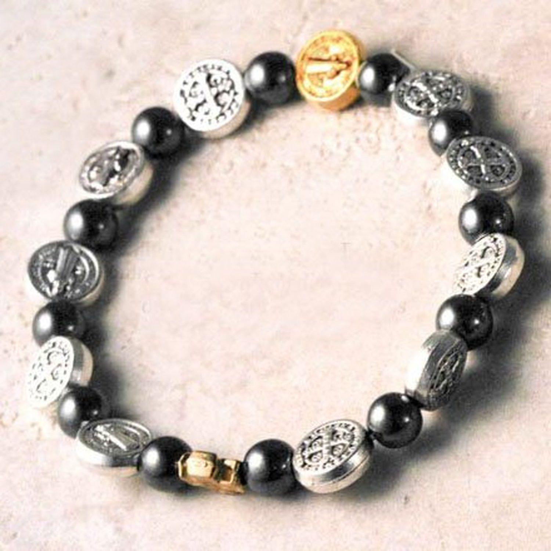 Stretch fit bracelet mm saint benedict medals mm round