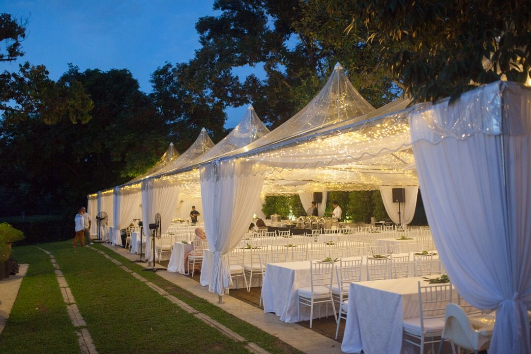 Transparent Canopy Setting With Fairy Lights For Nareezs Dinner