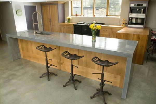Arbeitsplatte Betonoptik küchenarbeitsplatten küchenplatte holz - küche mit bar