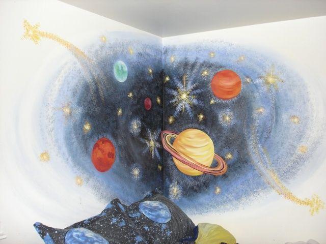 Planeten im kinderzimmer gestaltung handgemalt for Aufbewahrungsideen kinderzimmer
