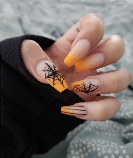 50 Devilishly Cute Halloween Nail Designs You Need To See In 2020 Halloween Acrylic Nails Cute Halloween Nails Horror Nails