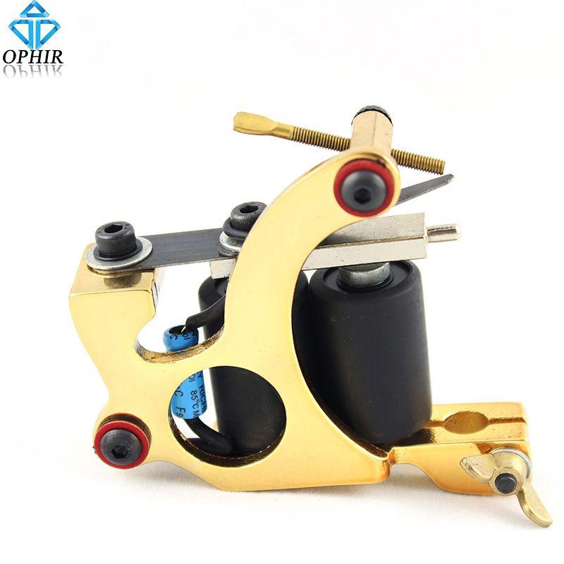 fec82b9494ad1 OPHIR Golden Cast iron 8 Wrap Dual-coiled Tattoo Gun Liner Shader Tattoo  Machine Gun for Body Art Tattoo _TA015