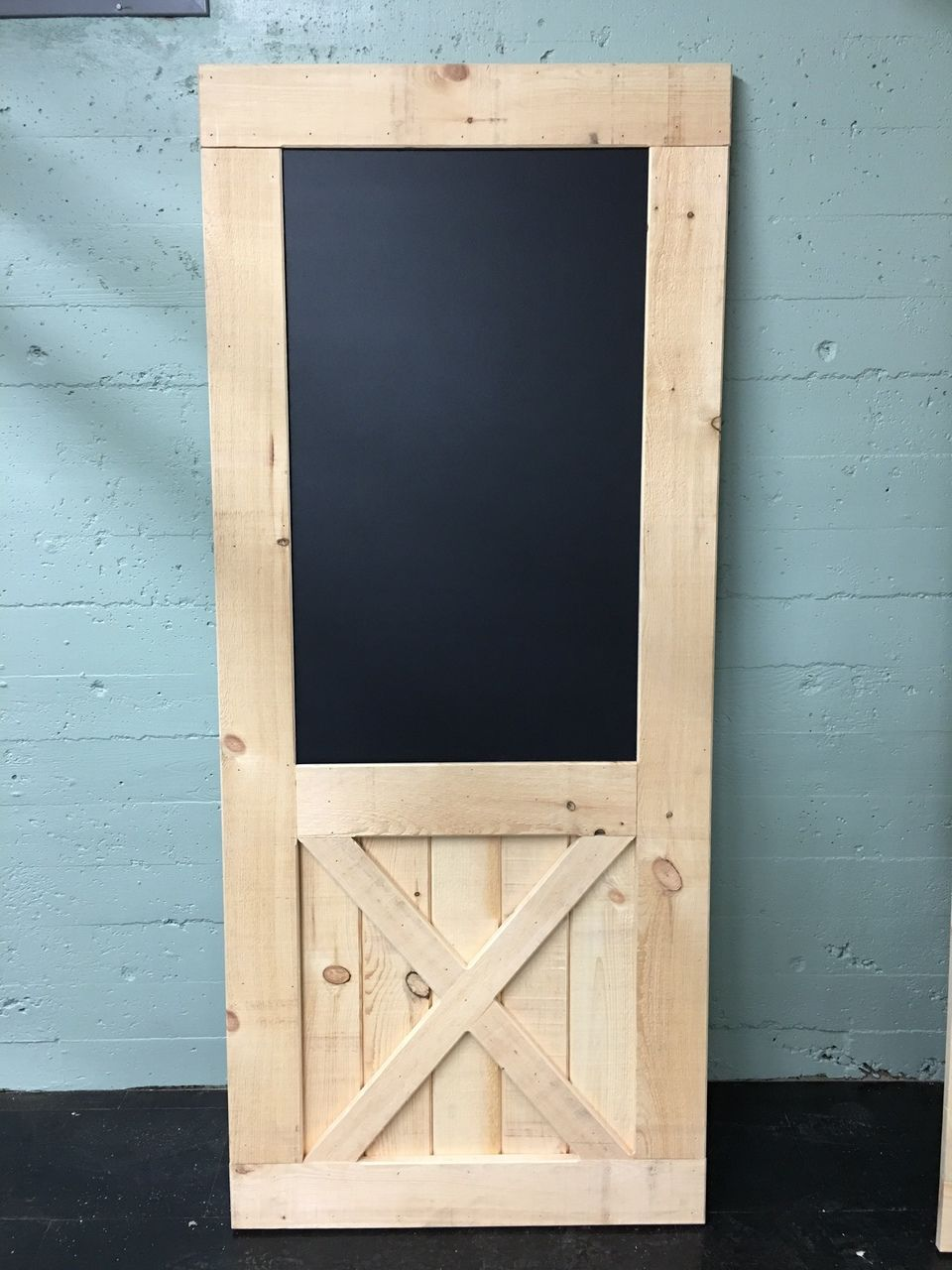 Bottom X Brace Barn Door With Built In Chalkboard Custom Build Made In Usa The Barn Door Hardware Store Barn Doors Sliding Barn Door Barn Door Pantry
