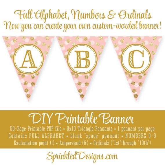 Pink and Gold Glitter Printable E Pennant Banner Mix and Match Letters for /'ONE/' Banner Instant Download