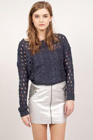 Blue Wren Studded Zip Skirt