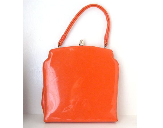 ULTRA-SATURATED HUES TREND + TOP HANDLE BAG TREND: Vintage 60s Mod Orange Patent Go Go Handbag via LaConchaVintage