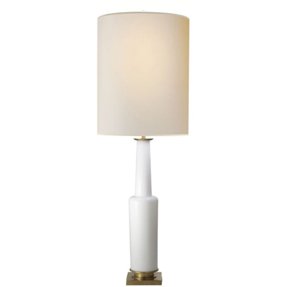 Thomas oubrien fiona table lamp in white glass with natural paper
