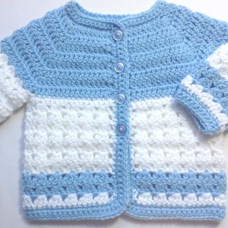 Photo of Crochet baby blue coat – 0 to 3 months – Baby boy jacket – Baby girl blue sweater – Baby shower gift – Crochet baby clothing