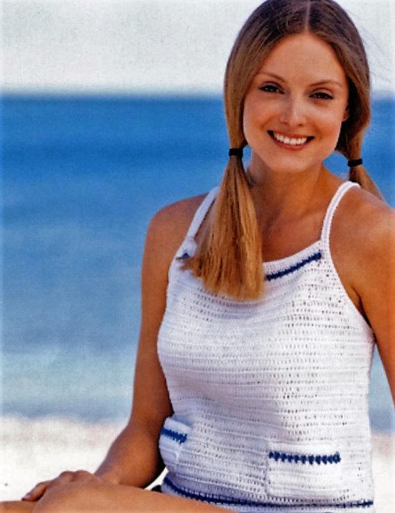 Crochet Sailors Tank Top PATTERN, Summer White Crochet Top with ...