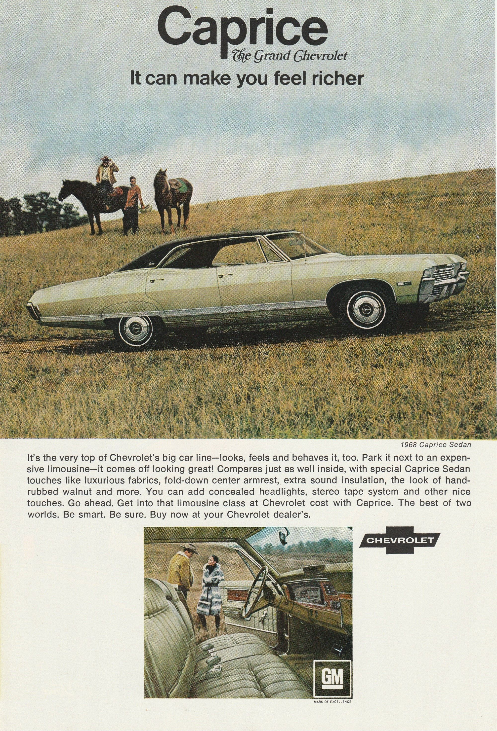 1968 Chevy Caprice Sedan Vintage Magazine Advertisement