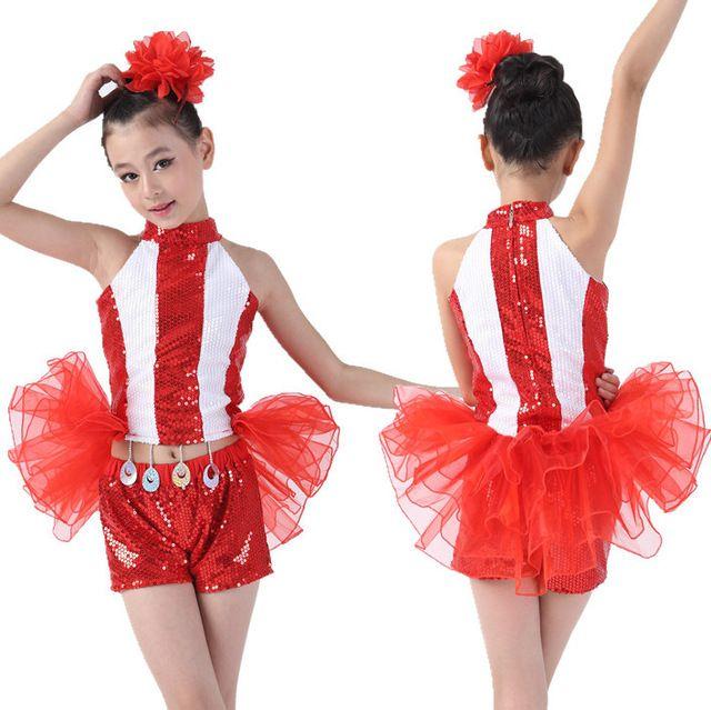 7355d7833 Envío Gratis Nuevo Diseño de Lentejuelas Niños Chicas Danza Moderna Ropa de Niños  Trajes de la Etapa de Baile Jazz Hip Hop Dancing Dancewear