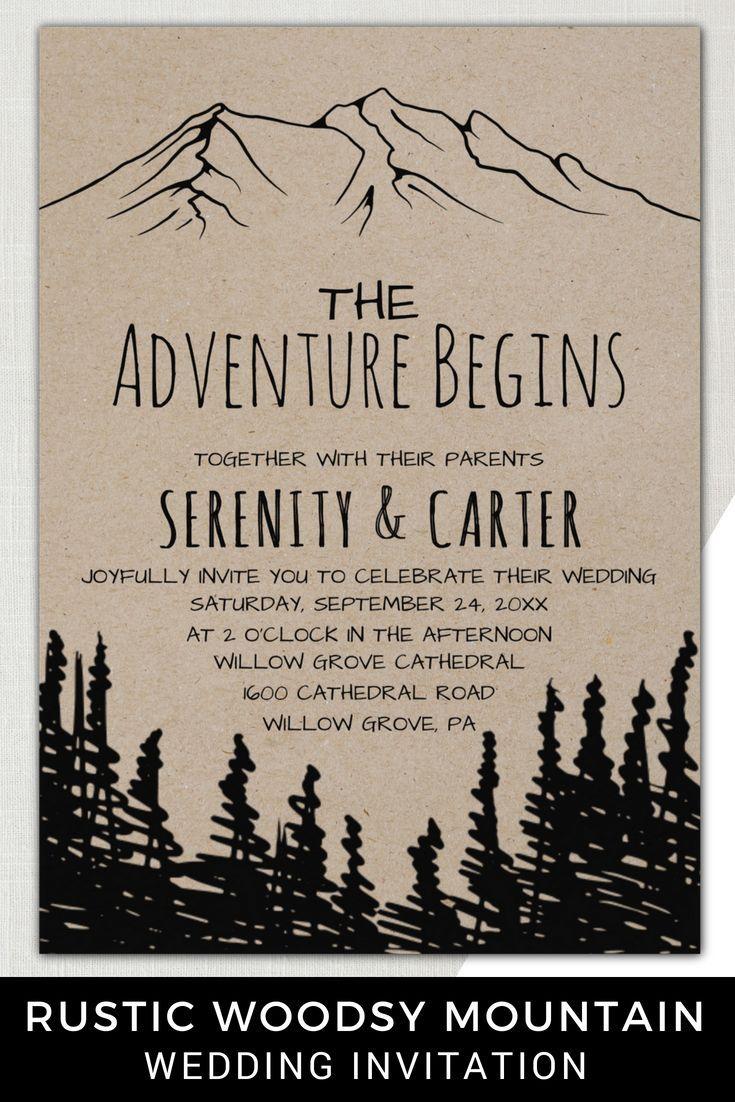 Esta aventura de montaña de bosque rústico comienza la tarjeta de invitación de boda es perfe... Esta aventura de montaña de bosque rústico comienza la tarjeta de invitación de boda es perfecta ...