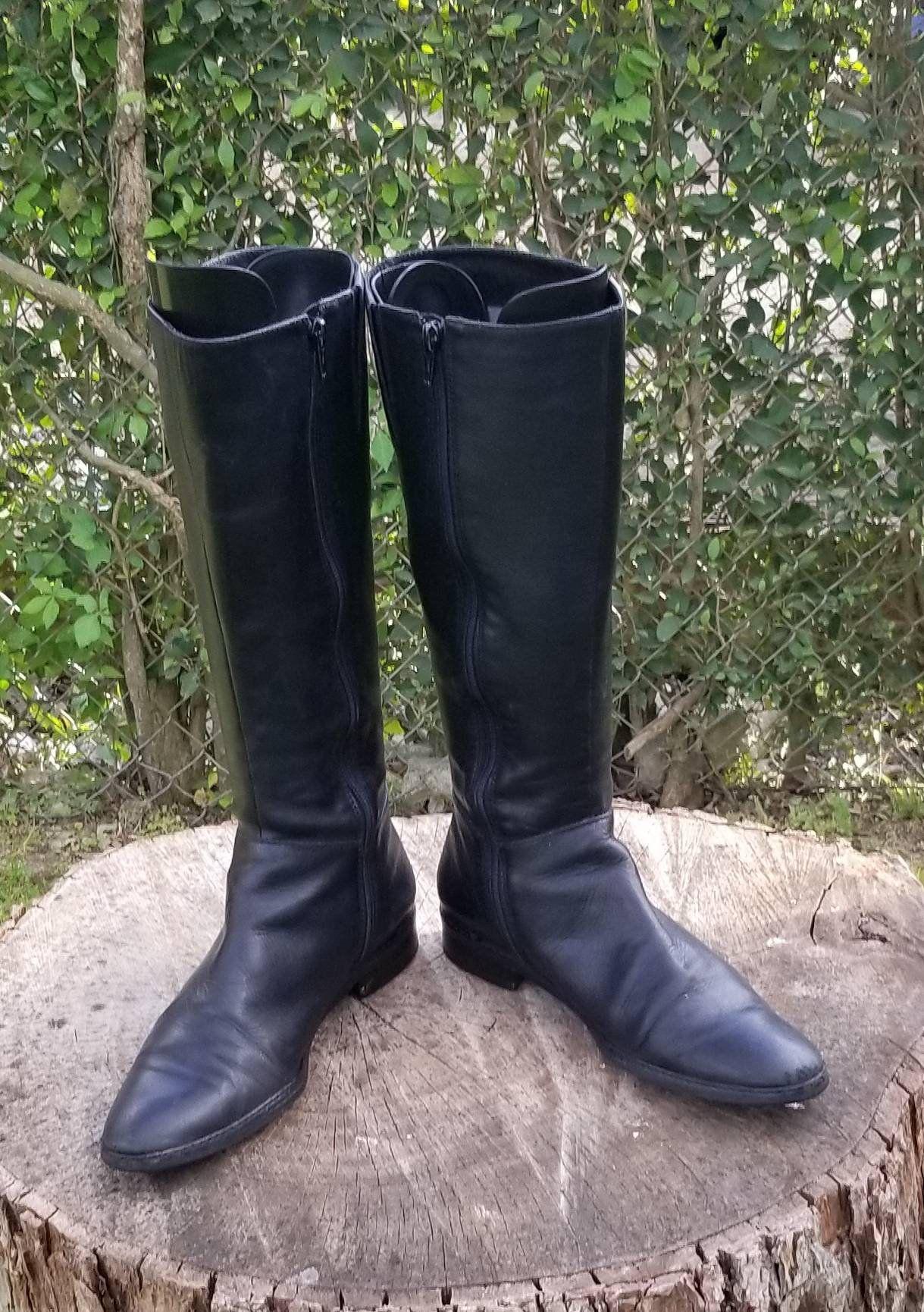 Sz 7 Vintage Riding BootsBlack Mid-Calf Boots80/'s Style