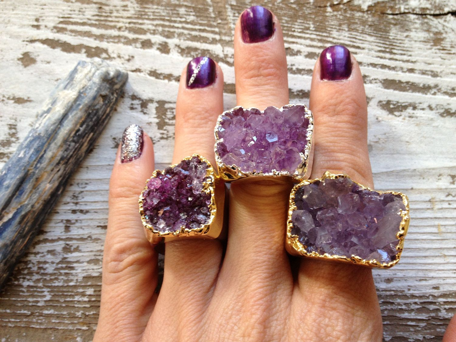 GALACTIC / Raw Druzy Agate Carved Crystal Gold/Silver Plated Gemstone Super Bold Statement Ring, Winter, Holiday, Fashion, Gift. $48.00, via Etsy.