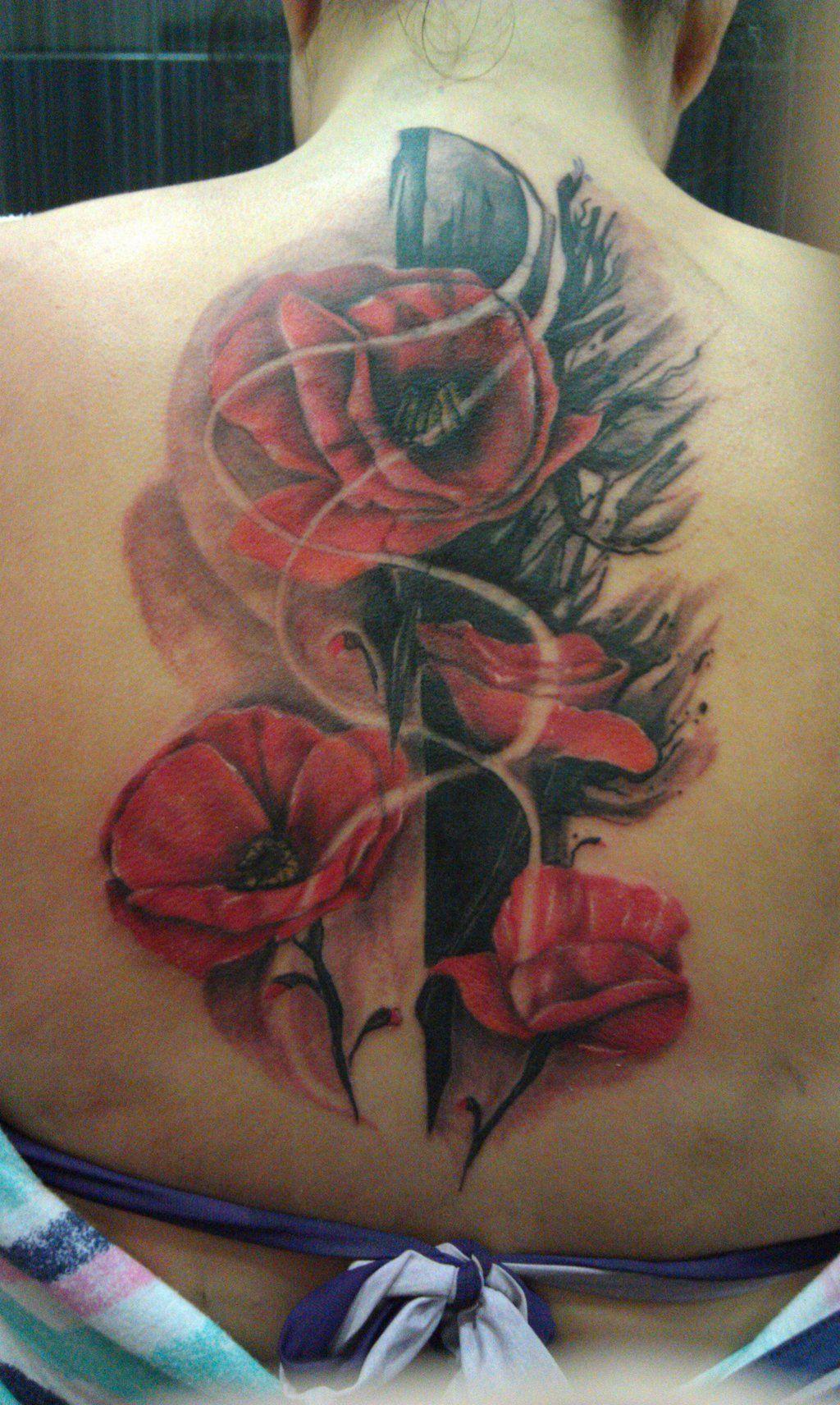 Black poppy flower tattoo poppy tattoo by skapoe red