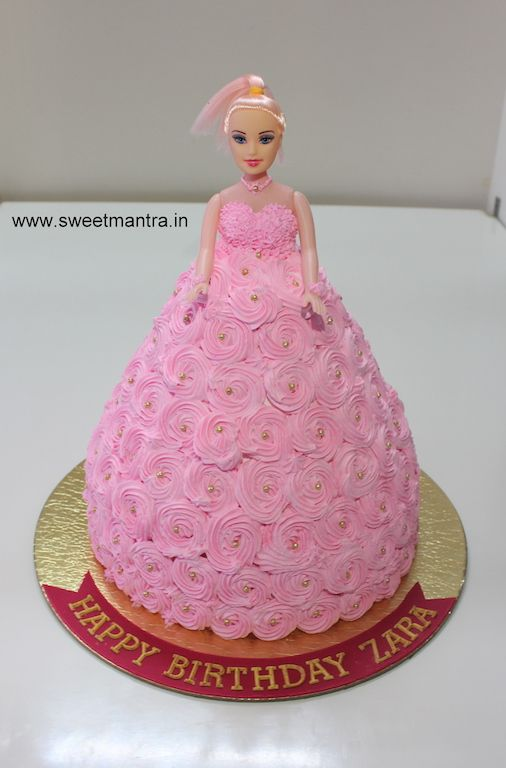 Barbie Doll Pink And Gold Theme Designer Fresh Cream Cake For Baby