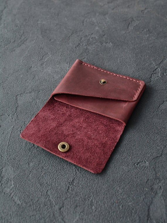 Photo of Leather wallet / compact purse / Leather wallet / Leather wallet handmade / Red brown / Mens …