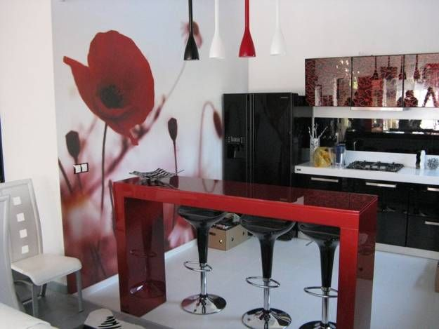 Black And White Interior With Red Accent  Google Search  Black New Kitchen Design Red And Black Design Ideas