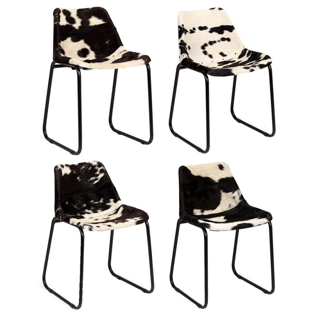 4er Set Esszimmerstühle Küchenstuhl Echtes Ziegenleder- Stühle Lehnstuhl Wohnzimmerstuhl Bürostuhl