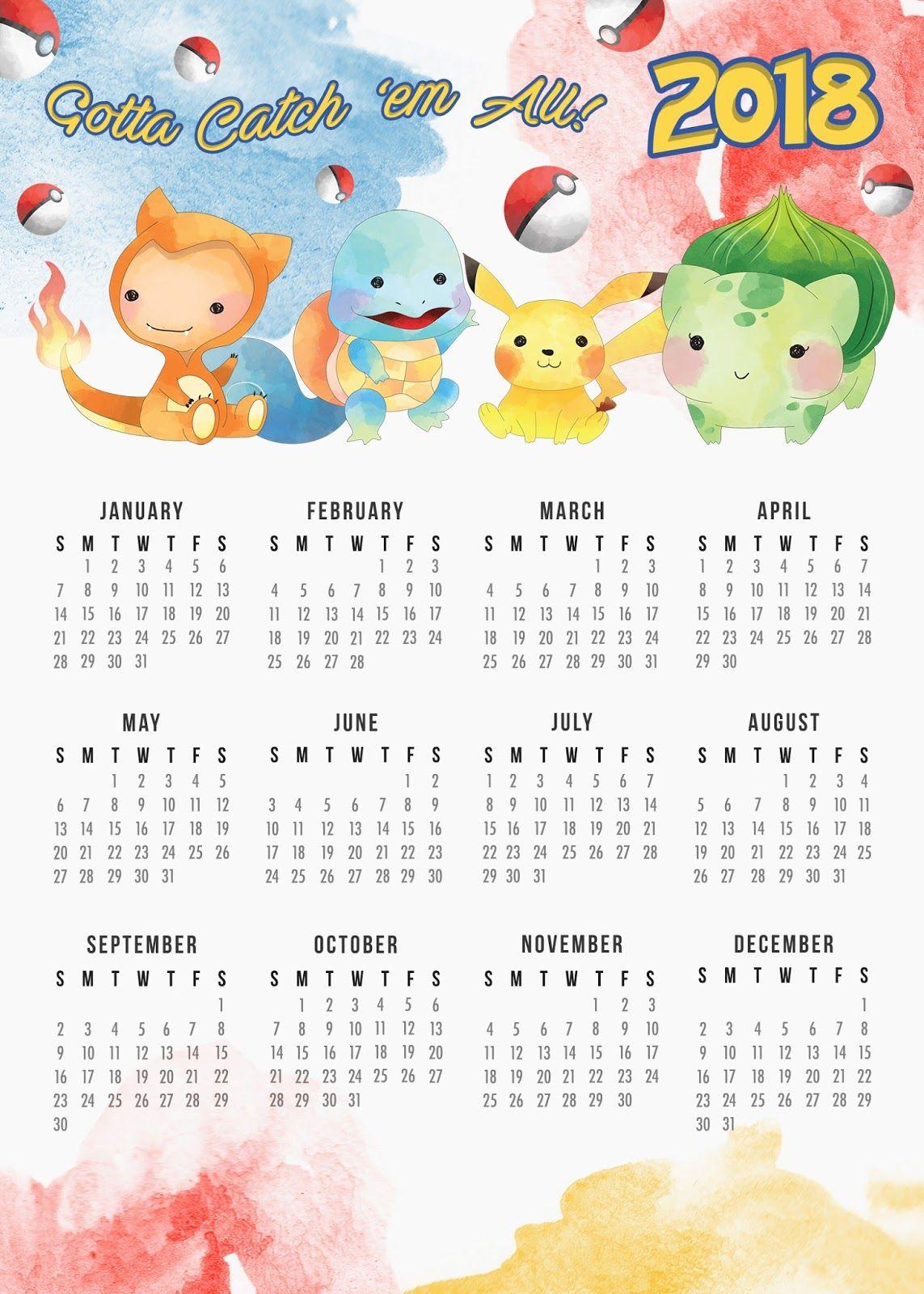 Pikachu December 2019 Calendar 2018 12 Months Pokemon Printable Calendar | 2018 Calendars