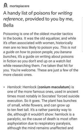 A handy list of poisons for writing reference, provided to you by me, Bella