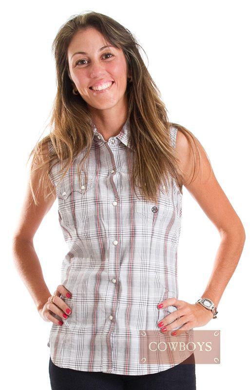 d598d08122 Camisa feminina regata Roper Camisa regata feminina importada da marca  Roper. Com tecido xadrez nas