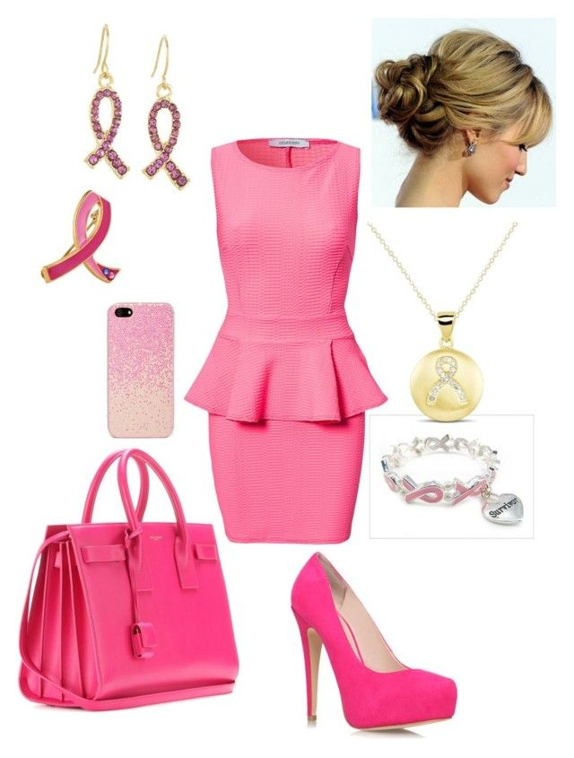"""""""Breast Cancer Awareness Month #3"""" by briony-jae ❤ liked on Polyvore featuring Estée Lauder, Oneness, West Coast Jewelry, Carvela Kurt Geiger, Yves Saint Laurent, women's clothing, women, female, woman and misses"""
