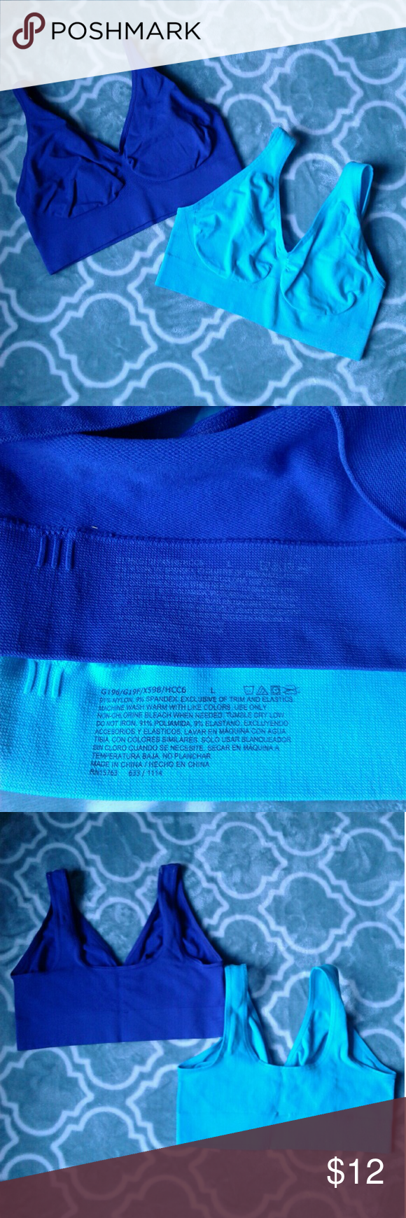 4db4a174d8 💙Bundle💙 Sport Bras Women s like new blue and aqua sport bra bundle size  Large. Thanks for looking!! Intimates   Sleepwear Bras