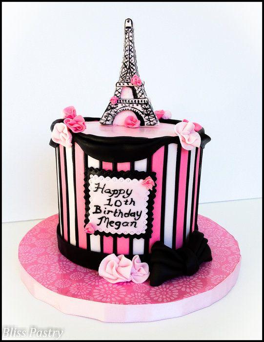 French Themed Birthday Cake  Birthday Cakes Paris Themed Cakes - Birthday cake paris