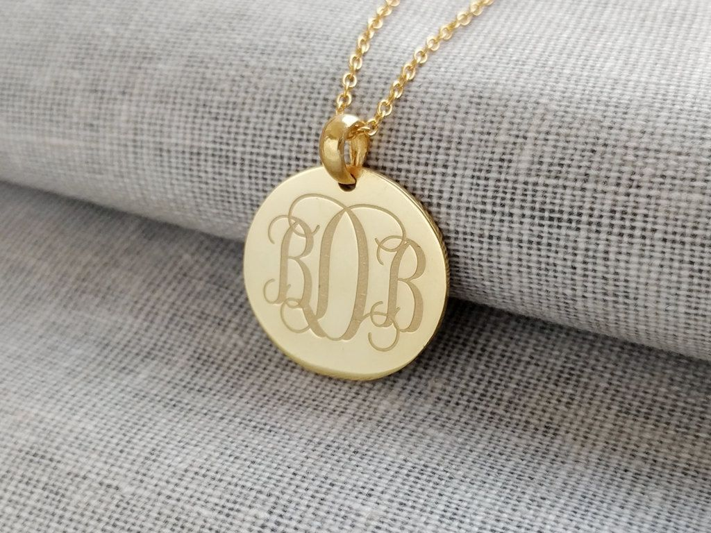 3 initials monogram necklace goldsmall initial monogram disc 3 initials monogram necklace goldsmall initial monogram disc necklaceengraved disc pendant mozeypictures Images