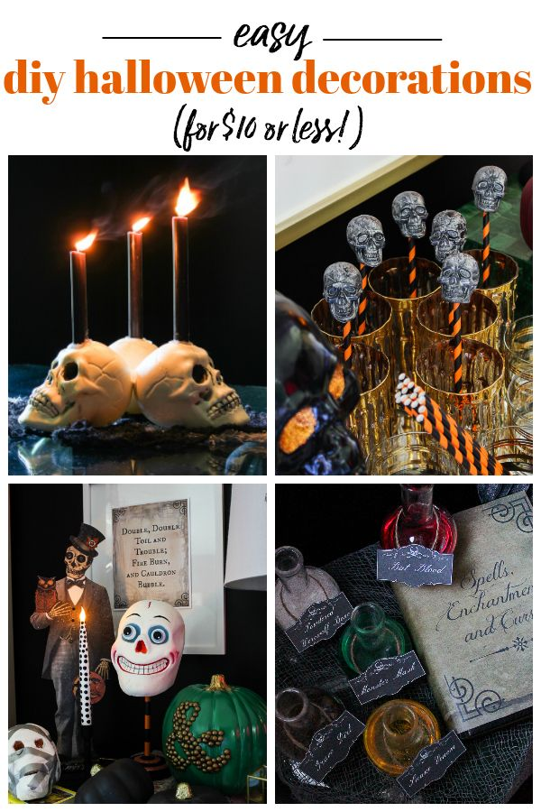 Easy DIY Halloween Decorations - Less than $10 to make! Blogger - cheap easy diy halloween decorations