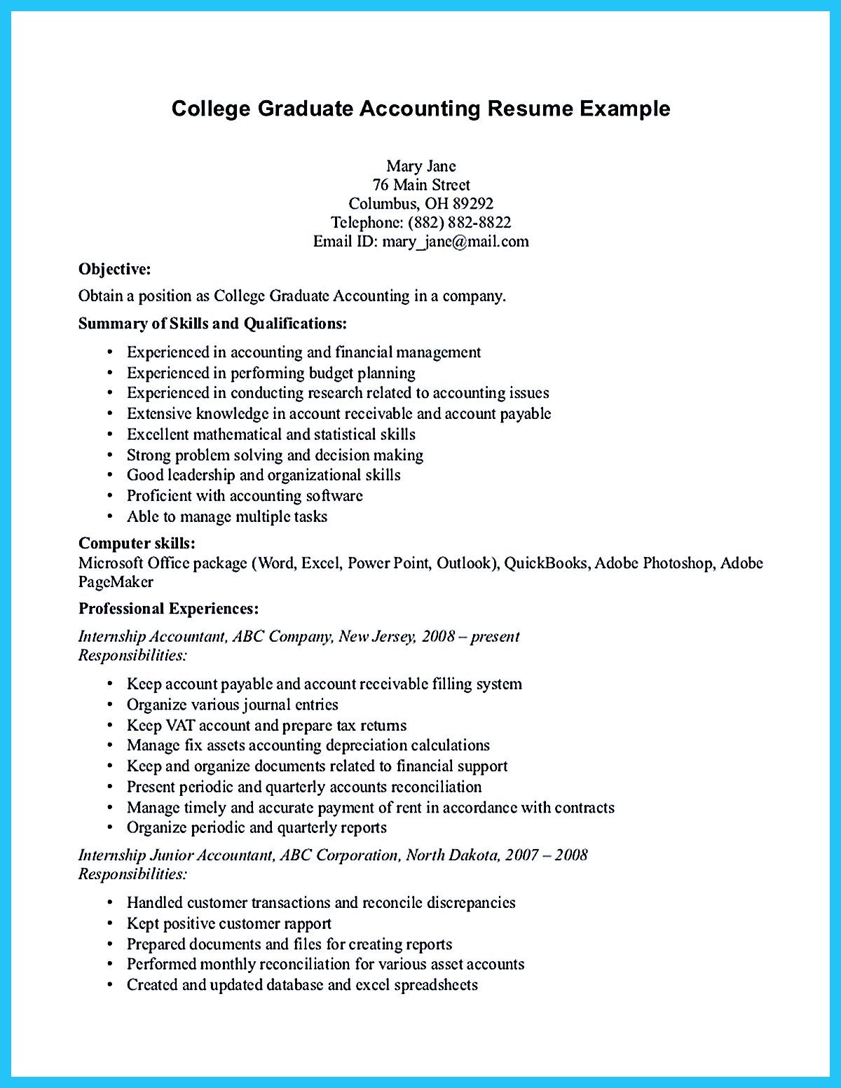 Resume For College Graduate Accounting Student Resume Here Presents How The Resume Of
