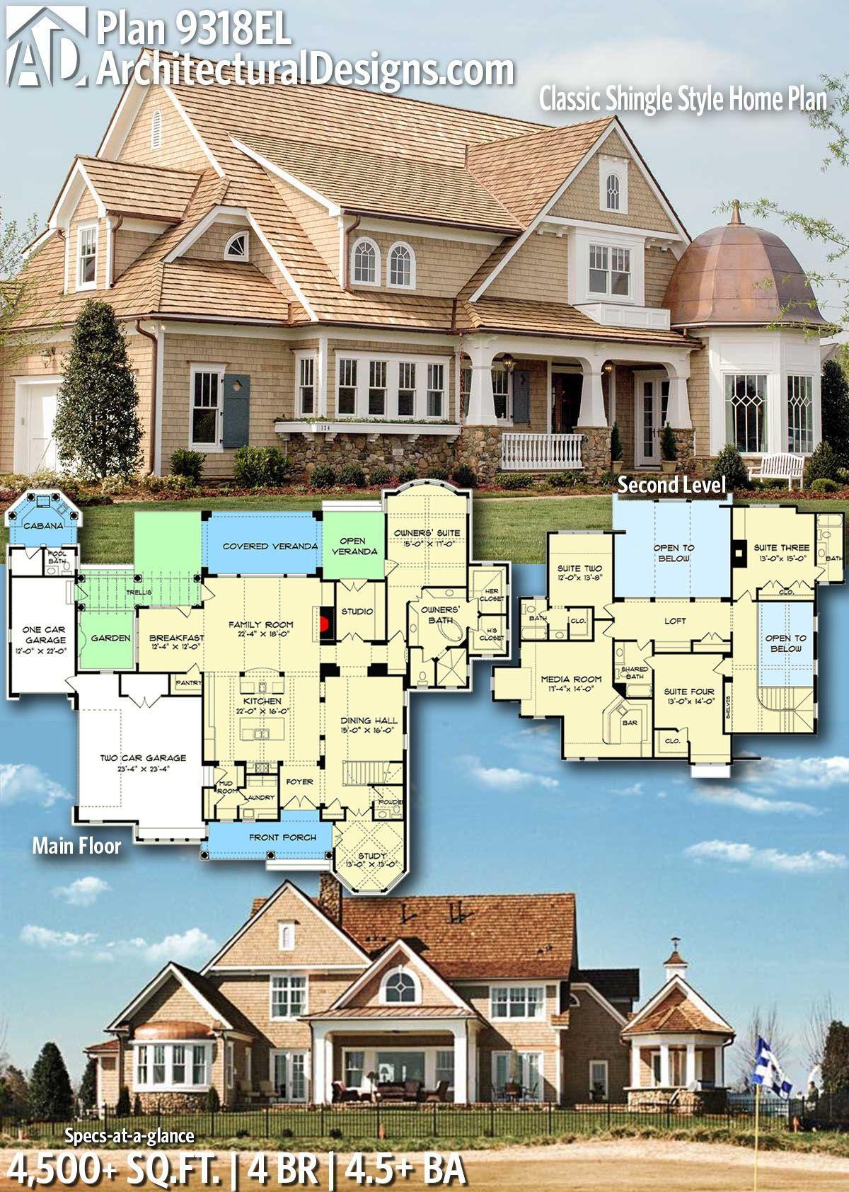 Plan 9318el Classic Shingle Style Home Plan Casas Casas Enormes Construcao De Casas