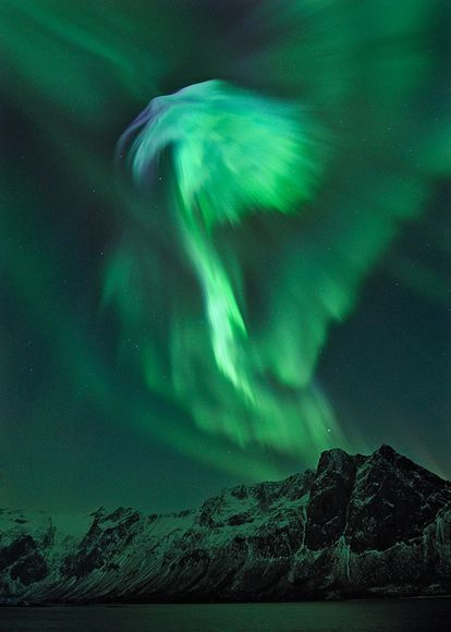 Wings of Lights, Bright auroras seem to spread like wings over the mountains outside of Tromsø, Norway