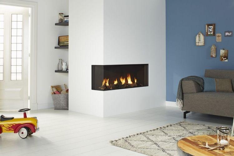 gemauerter kaminofen am eck bietet sich aus zwei seiten. Black Bedroom Furniture Sets. Home Design Ideas