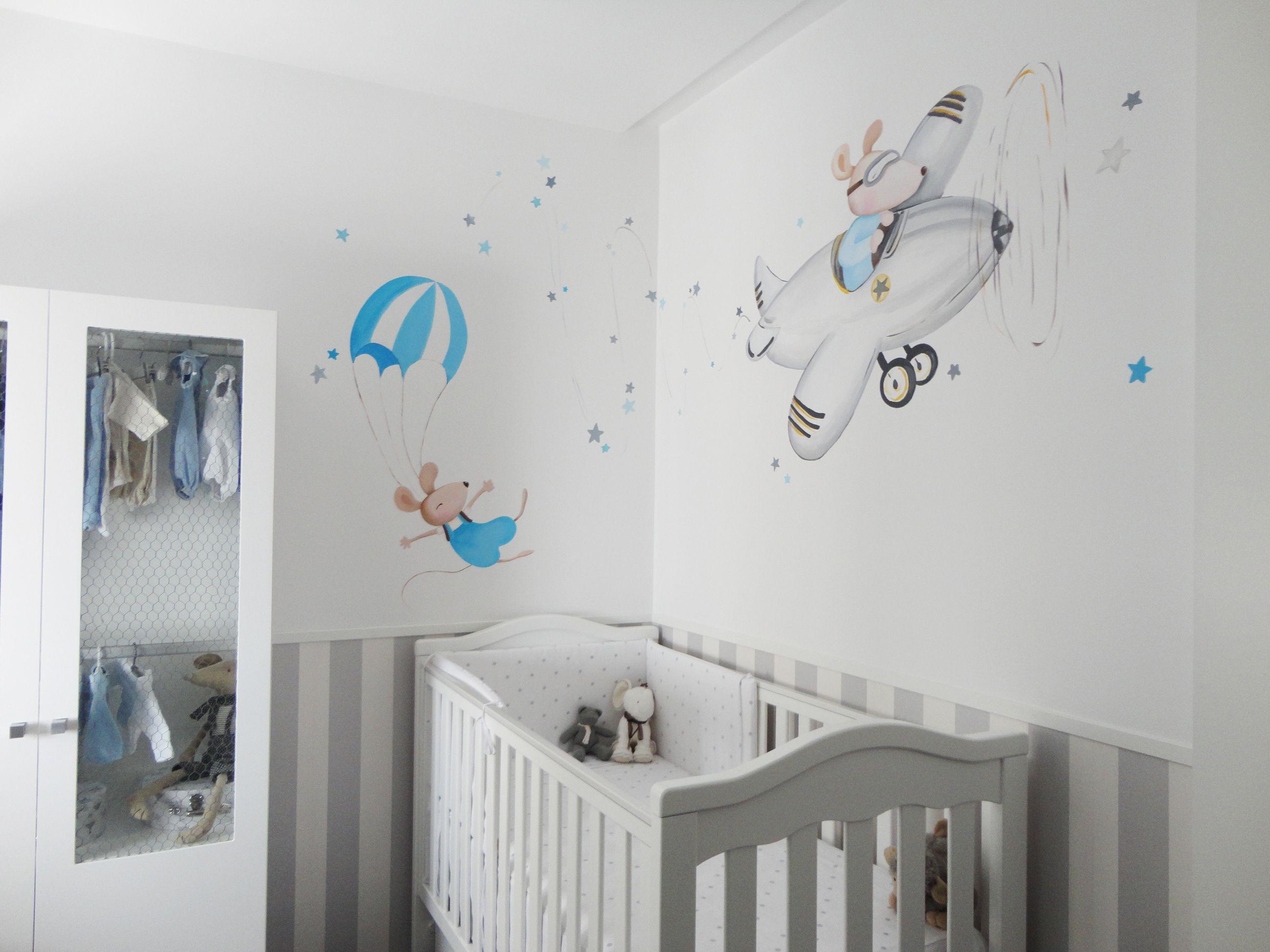 Mural ratoncitos en avion y en paracaidas morales - Decoraciones de paredes pintadas ...