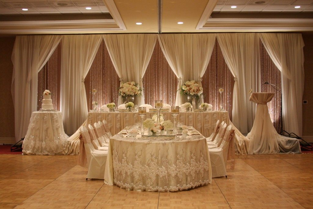 Layered Wedding Backdrop With Exquisite Lace Headtable Wedding