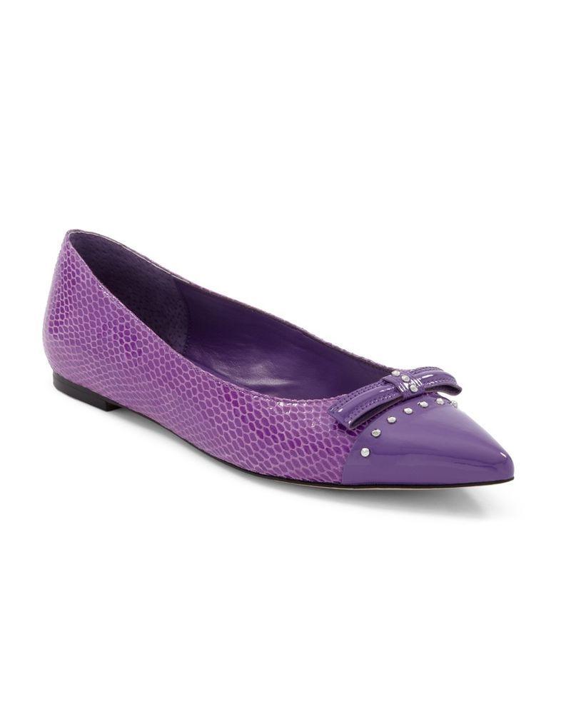 Purple dress with shoes  White House Black Market Irish Cap Toe City Flat W Bow Purple