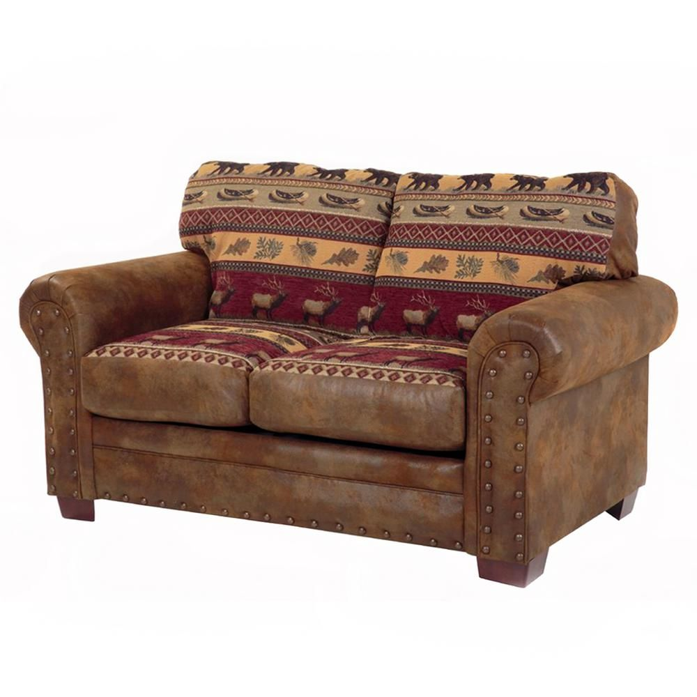 American Furniture Classics Sierra Lodge 67 In Brown Rust Pattern Microfiber 3 Seater Loveseat With Nailheads In 2021 American Furniture Western Furniture Furniture