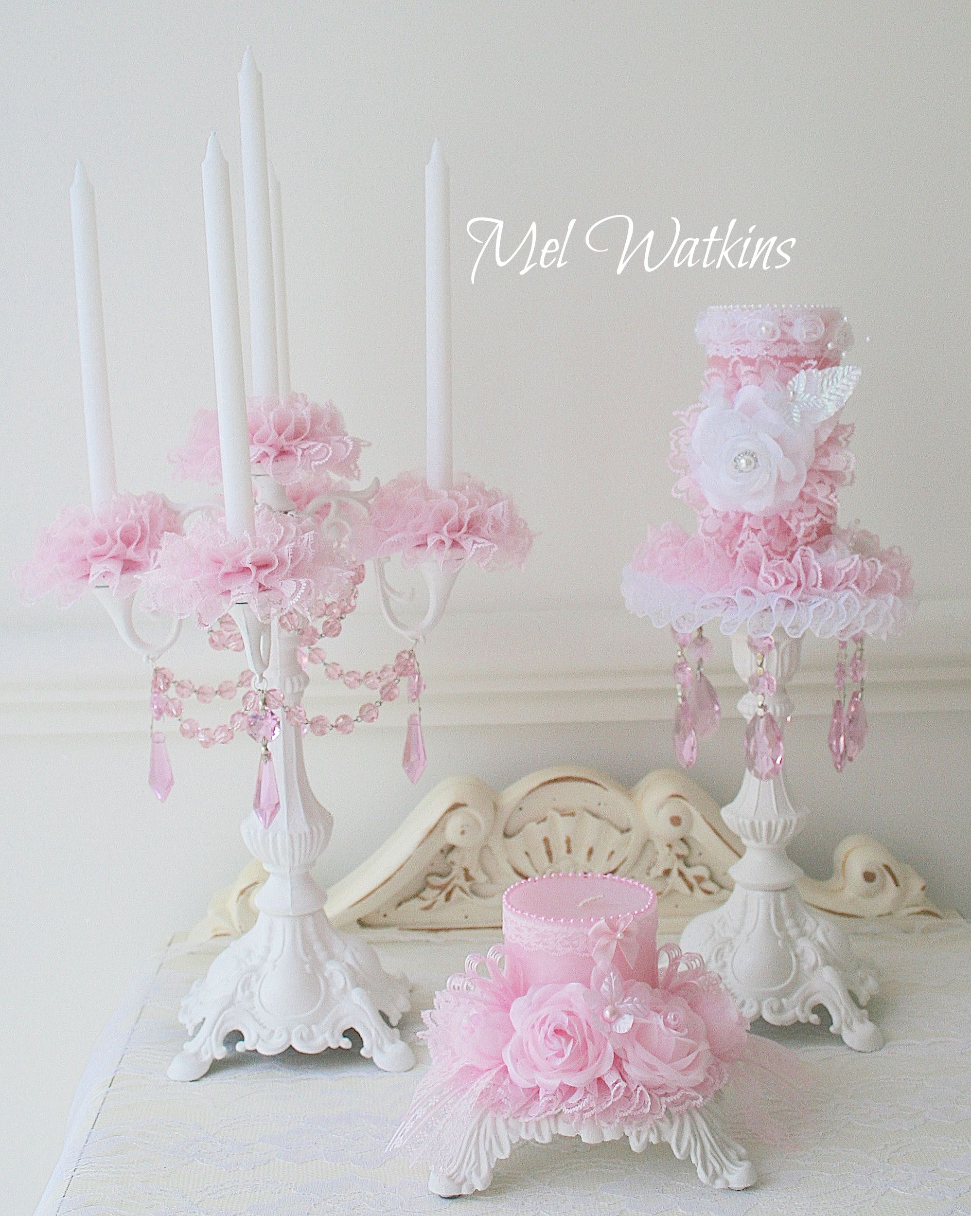 Pink Shabby Chic Dresser: Pink Shabby Decorated Candles And Candelabra :)
