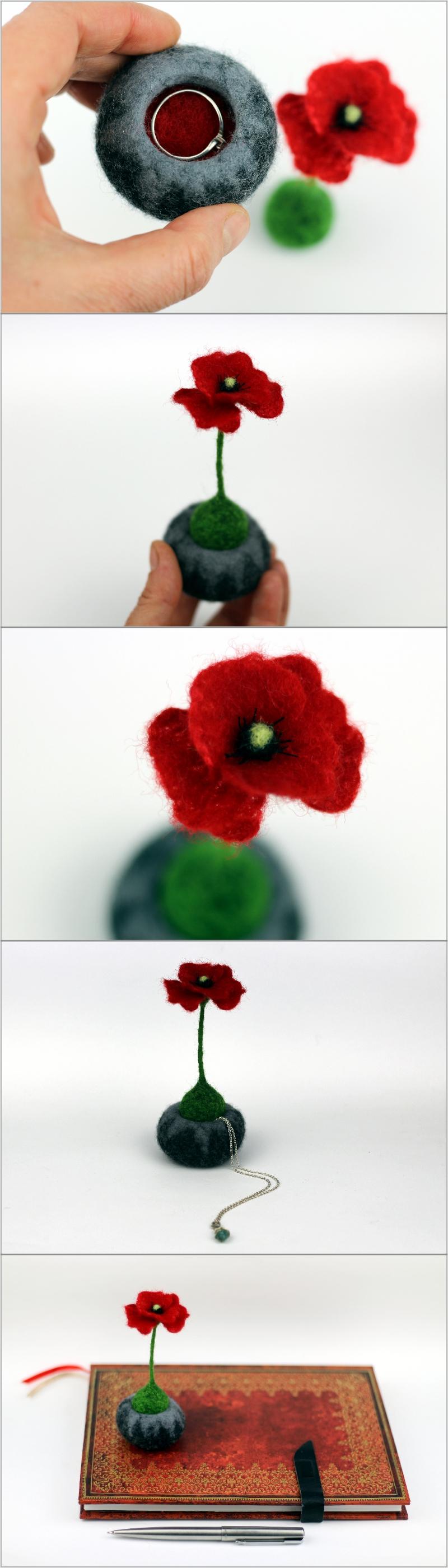 Ring box oak poppy unusual ring pillow jewelry box case bearer ...