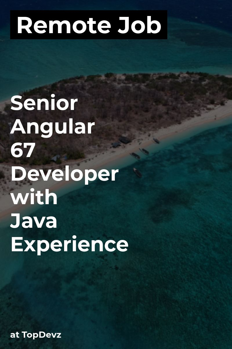 Remote Senior Angular 6/7 Developer with Java Experience
