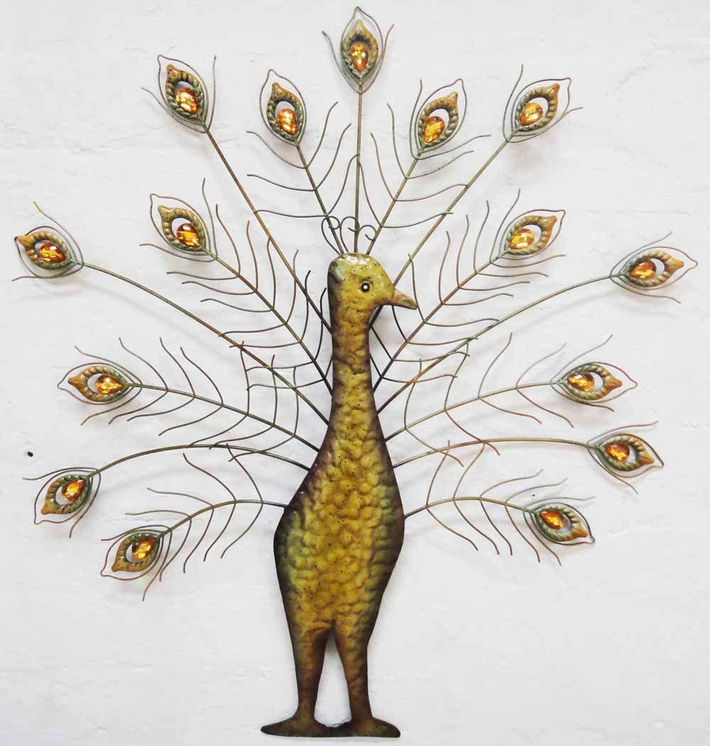 Metal wall art jewel peacock fan spray art and beauty