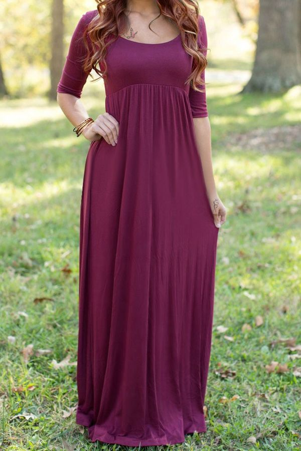 bd1a14f5a241 Wine Red Scoop Neck Half Sleeve Maxi Dress