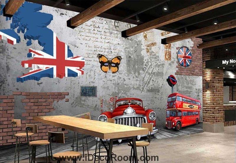 3D Vintage Alten Lesen Auto Rot London Bus Zement Wand Mit Einige - wohnzimmerwand rot
