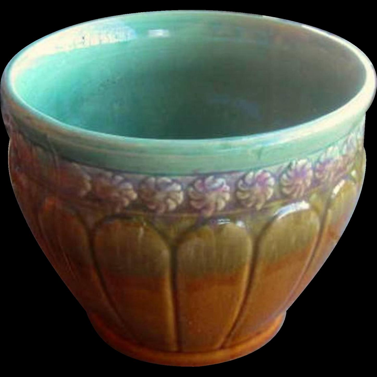 Vintage Pottery Jardiniere, Planter, Vase, Majolica Pottery, Possibly Brush McCoy, Circa 1920s-1930s