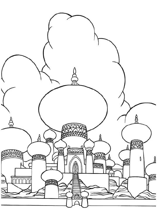 alladin castles coloring pages | Castle Of Princess Jasmine Coloring Pages | Castles ...