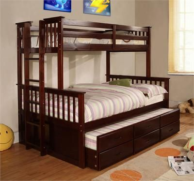 University Espresso Bunk Bed Twin Over Full | ideas for kids room
