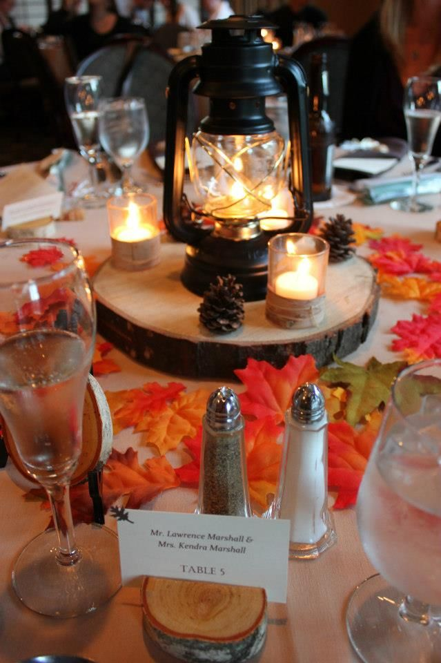 Rustic lantern centerpiece without the fall leaves for it